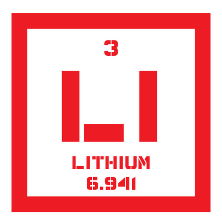 alkali metal: Lithium chemical element. The lightest metal, belongs to alkali metal group. Colored icon with atomic number and atomic weight. Chemical element of periodic table.