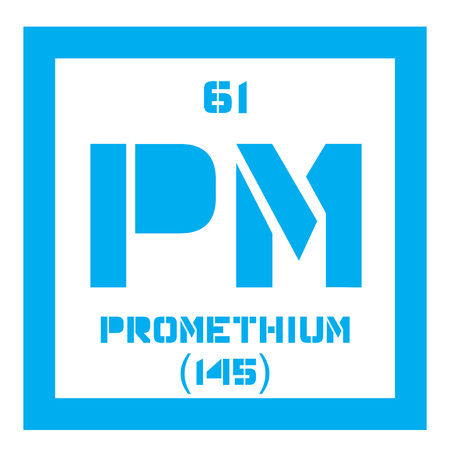 chemical element: Promethium chemical element. Radioactive element. Colored icon with atomic number and atomic weight. Chemical element of periodic table.