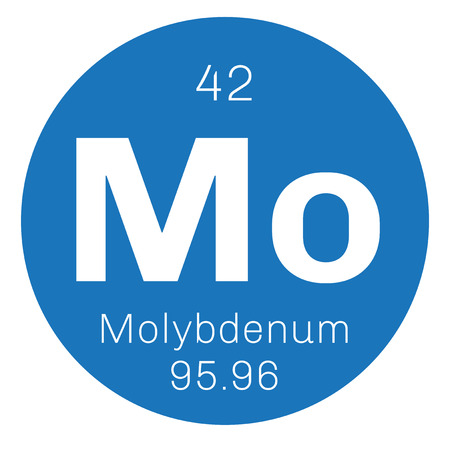electrons: Molybdenum chemical element. Has sixth-highest melting point of all elements. Colored icon with atomic number and atomic weight. Chemical element of periodic table.