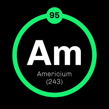 mendeleev: Americium chemical element. Radioactive transuranic chemical element. Colored icon with atomic number and atomic weight. Chemical element of periodic table. Illustration