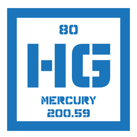 atomic number: Mercury chemical element. Commonly known as quicksilver. Colored icon with atomic number and atomic weight. Chemical element of periodic table.