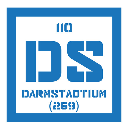 atomic number: Darmstadtium chemical element. Extremely radioactive synthetic element. Colored icon with atomic number and atomic weight. Chemical element of periodic table.