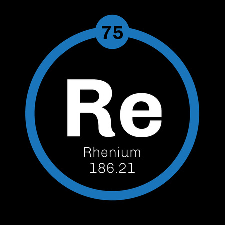 affinity: Rhenium chemical element. One of the rarest Earth elements. Colored icon with atomic number and atomic weight. Chemical element of periodic table.
