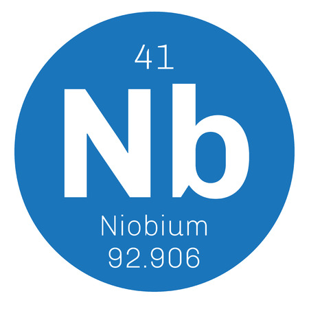 Niobium chemical element. Niobium is a transition metal. Colored icon with atomic number and atomic weight. Chemical element of periodic table.