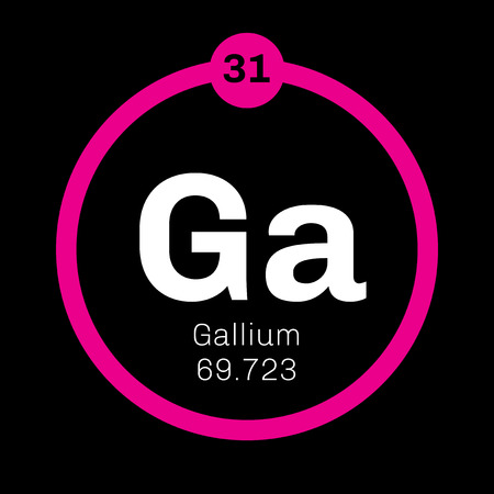 Gallium chemical element. Used in electronics. Colored icon with atomic number and atomic weight. Chemical element of periodic table. Illustration