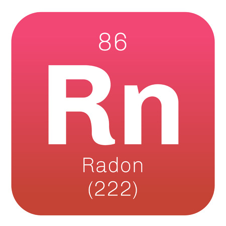 radon: Radon chemical element. Radon is radioactive, colorless, odorless and tasteless gas. Belongs to noble gases group of the periodic table. Illustration