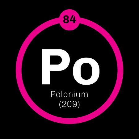 rare: Polonium chemical element. Rare and highly radioactive metal. Colored icon with atomic number and atomic weight. Chemical element of periodic table.