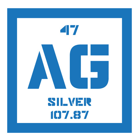 ag: Silver chemical element. Precious metal. Colored icon with atomic number and atomic weight. Chemical element of periodic table. Illustration