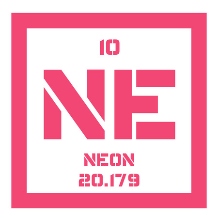 belongs: Neon chemical element. Belongs to noble gases group of the periodic table. Colorless, odorless and inert gas. Illustration