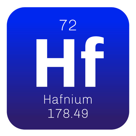 atomic number: Hafnium chemical element. Transition metal. Colored icon with atomic number and atomic weight. Chemical element of periodic table.
