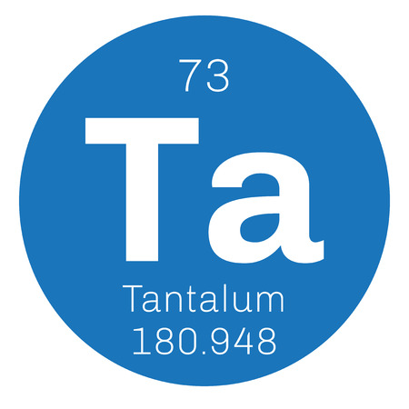 transition: Tantalum chemical element. Highly corrosion-resistant transition metal. Colored icon with atomic number and atomic weight. Chemical element of periodic table. Illustration