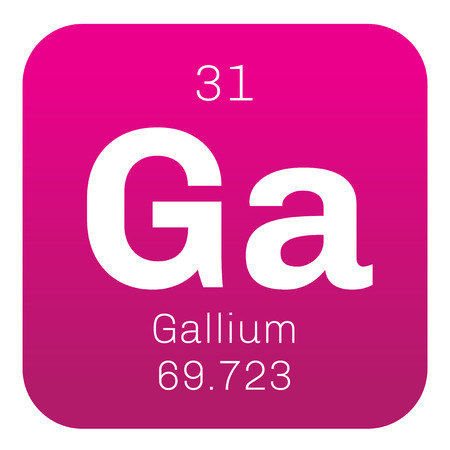 chemical element: Gallium chemical element. Used in electronics. Colored icon with atomic number and atomic weight. Chemical element of periodic table. Illustration