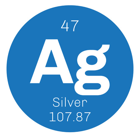 argentum: Silver chemical element. Precious metal. Colored icon with atomic number and atomic weight. Chemical element of periodic table. Illustration
