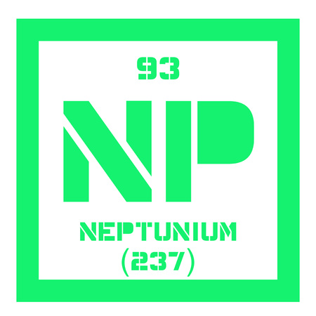 atomic number: Neptunium chemical element. Synthetic element. Colored icon with atomic number and atomic weight. Chemical element of periodic table.