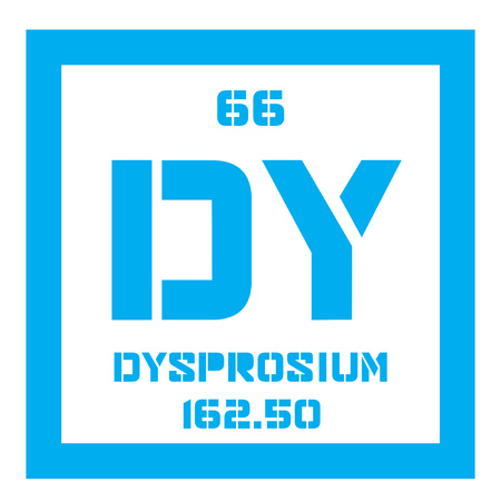 rare: Dysprosium chemical element. Rare earth element. Colored icon with atomic number and atomic weight. Chemical element of periodic table.