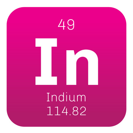 chemical element: Indium chemical element. Soft post-transition metal. Colored icon with atomic number and atomic weight. Chemical element of periodic table.