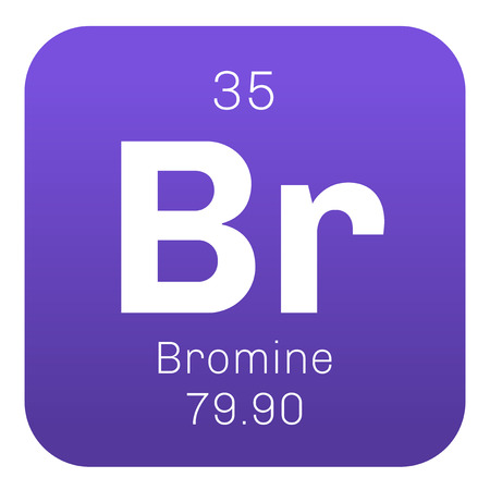 corrosive: Bromine chemical element. Corrosive and toxic. Colored icon with atomic number and atomic weight. Chemical element of periodic table.