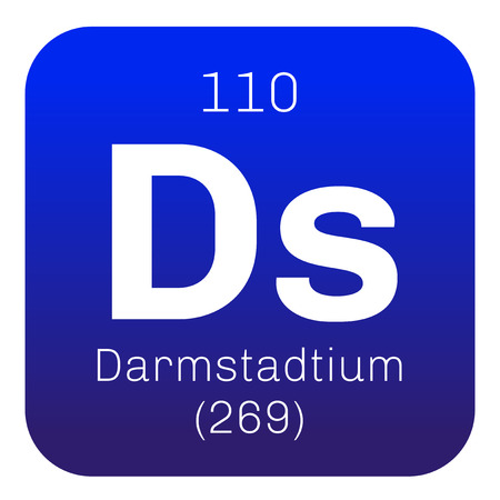 atomic: Darmstadtium chemical element. Extremely radioactive synthetic element. Colored icon with atomic number and atomic weight. Chemical element of periodic table.