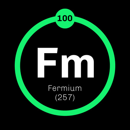 atomic number: Fermium chemical element. Member of the actinide series. Colored icon with atomic number and atomic weight. Chemical element of periodic table. Illustration