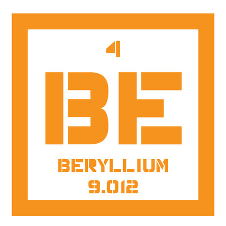 atomic number: Beryllium chemical element. A rare element. Colored icon with atomic number and atomic weight. Chemical element of periodic table. Illustration