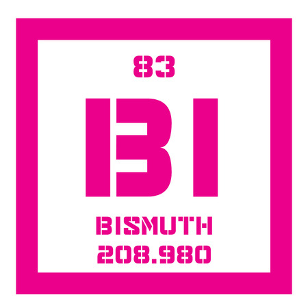 bismuth: Bismuth chemical element. Bismuth is the most naturally diamagnetic element. Colored icon with atomic number and atomic weight. Chemical element of periodic table.