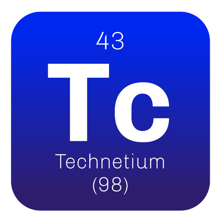Technetium chemical element. Lightest radioactive element. Colored icon with atomic number and atomic weight. Chemical element of periodic table.