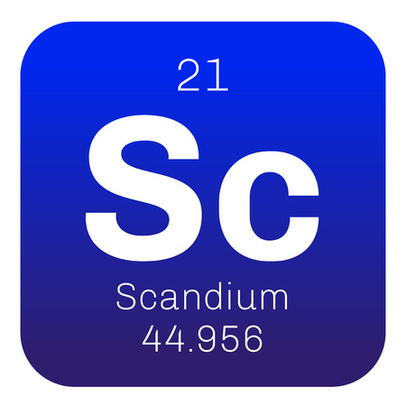 rare: Scandium chemical element. Rare Earth element. Colored icon with atomic number and atomic weight. Chemical element of periodic table.