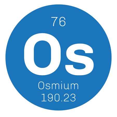 chemical element: Osmium chemical element. Osmium is the densest naturally occurring element. Colored icon with atomic number and atomic weight. Chemical element of periodic table. Illustration