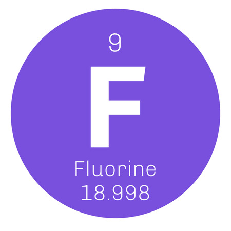 chemical element: Fluorine chemical element. The most electronegative element. Colored icon with atomic number and atomic weight. Chemical element of periodic table. Illustration