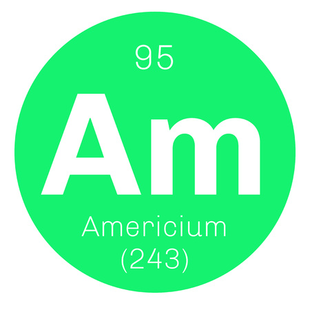 chemical element: Americium chemical element. Radioactive transuranic chemical element. Colored icon with atomic number and atomic weight. Chemical element of periodic table. Illustration