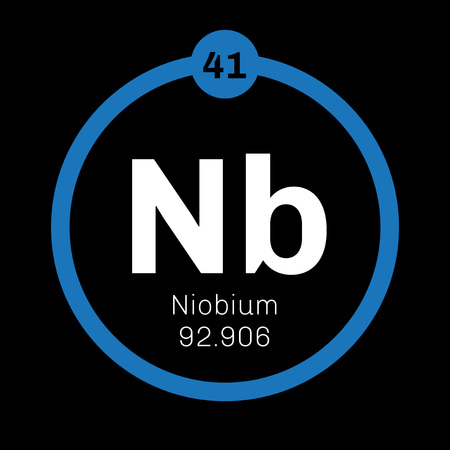 nb: Niobium chemical element. Niobium is a transition metal. Colored icon with atomic number and atomic weight. Chemical element of periodic table.
