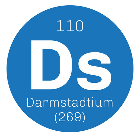 mendeleev: Darmstadtium chemical element. Extremely radioactive synthetic element. Colored icon with atomic number and atomic weight. Chemical element of periodic table.