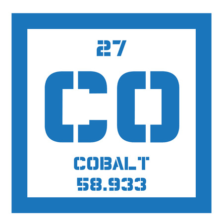 cobalt: Cobalt chemical element. Colored icon with atomic number and atomic weight. Chemical element of periodic table.