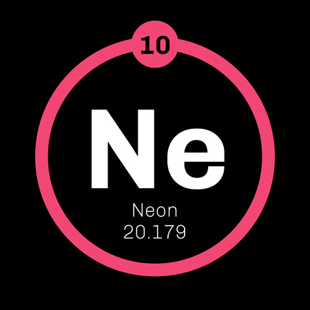 Neon chemical element. Belongs to noble gases group of the periodic table. Colorless, odorless and inert gas. Illustration
