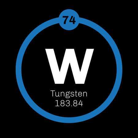 chemical element: Tungsten chemical element. Also known as wolfram. Colored icon with atomic number and atomic weight. Chemical element of periodic table.
