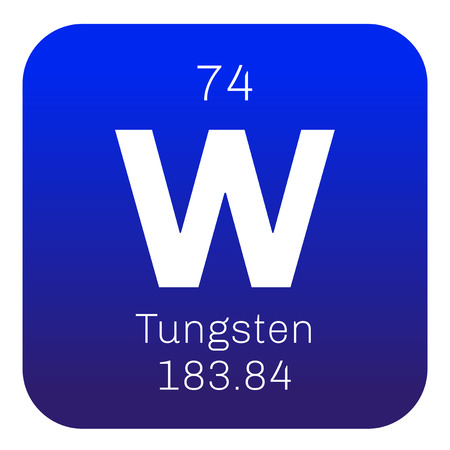 Tungsten chemical element. Also known as wolfram. Colored icon with atomic number and atomic weight. Chemical element of periodic table.