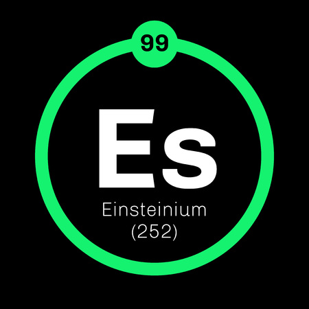atomic: Einsteinium chemical element. Synthetic element. Colored icon with atomic number and atomic weight. Chemical element of periodic table.
