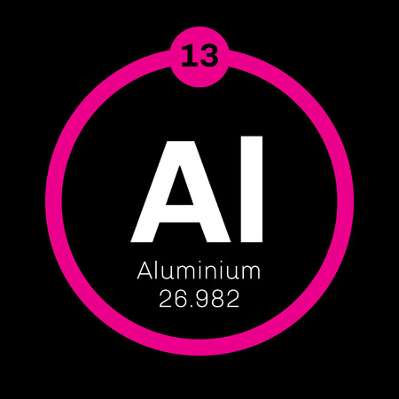 Aluminium chemical element. One of the most abundant elements. Colored icon with atomic number and atomic weight. Chemical element of periodic table. Illustration