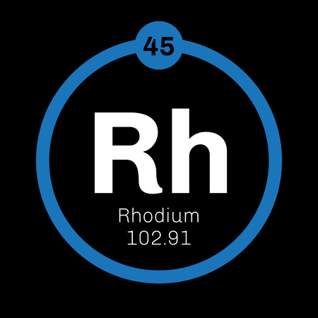 belongs: Rhodium chemical element. Silver white, hard and inert metal, belongs to the platinum group. Illustration