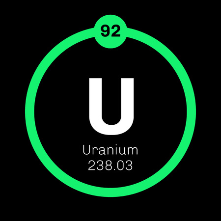 uranium: Uranium chemical element. Uranium is weakly radioactive metal. Colored icon with atomic number and atomic weight. Chemical element of periodic table.
