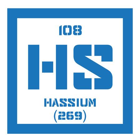Hassio elemento qumico elemento sinttico radiactivo icono de hassio elemento qumico elemento sinttico radiactivo icono de color con el nmero atmico y urtaz Images