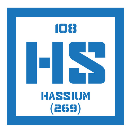 Hassium chemical element radioactive synthetic element colored hassium chemical element radioactive synthetic element colored icon with atomic number and atomic weight urtaz Image collections