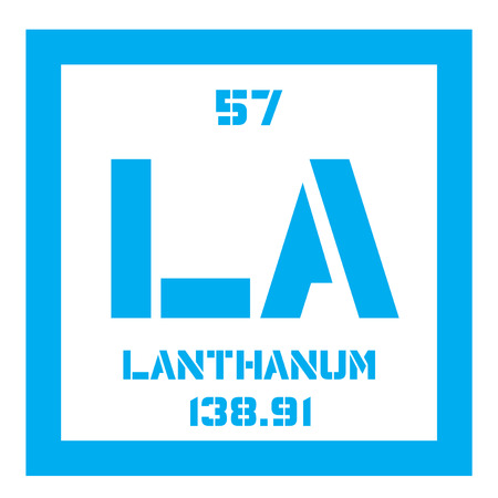 chemical element: Lanthanum chemical element. Soft metallic chemical element. Colored icon with atomic number and atomic weight. Chemical element of periodic table.