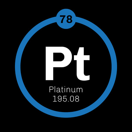 precious metal: Platinum chemical element. Precious metal. Colored icon with atomic number and atomic weight. Chemical element of periodic table.
