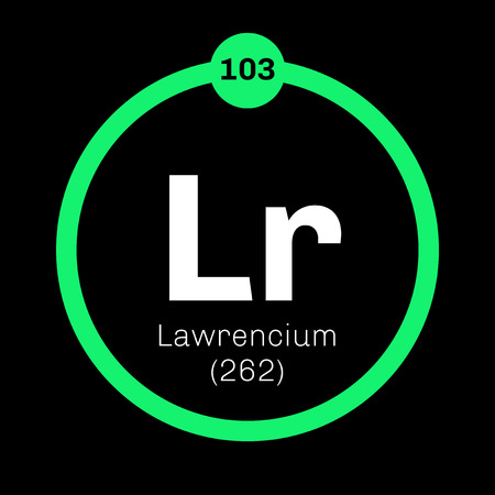 Lawrencium chemical element. Synthetic element. Colored icon with atomic number and atomic weight. Chemical element of periodic table.
