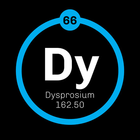 atomic number: Dysprosium chemical element. Rare earth element. Colored icon with atomic number and atomic weight. Chemical element of periodic table.