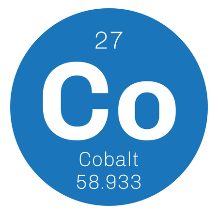 atomic number: Cobalt chemical element. Colored icon with atomic number and atomic weight. Chemical element of periodic table.