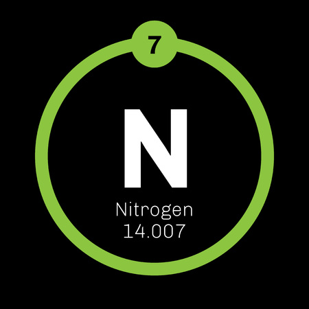 Nitrogen chemical element. Common element in the universe. Colored icon with atomic number and atomic weight. Chemical element of periodic table. Illustration
