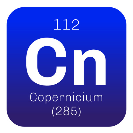element: Copernicium chemical element. Extremely radioactive synthetic element.