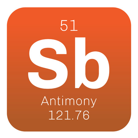 antimony: Antimony chemical element. Gray metalloid. Colored icon with atomic number and atomic weight. Chemical element of periodic table. Illustration